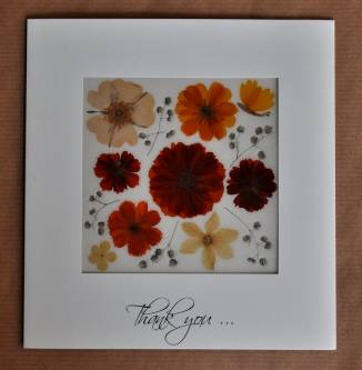 Thank You - Greeting Card handmade with natural flowers